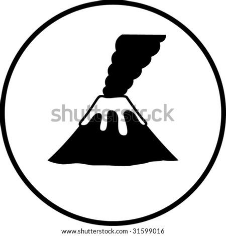 volcano mountain smoking symbol - stock vector