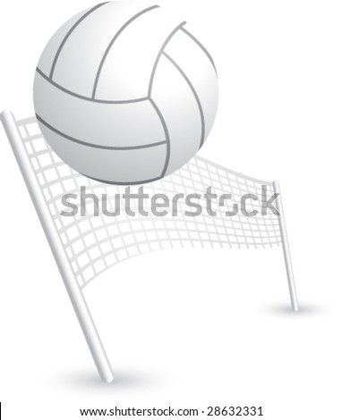 volleyball and net - stock vector