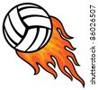 volleyball ball in fire - stock vector