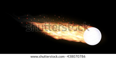 volleyball burning on a black background - stock vector