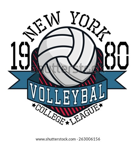 Volleyball College League New York Team T-shirt Typography Graphics, Vector Illustration - stock vector