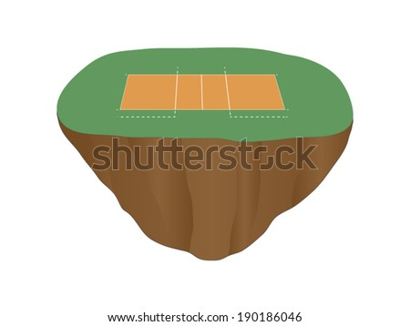 Volleyball Court Floating Island 2 - stock vector