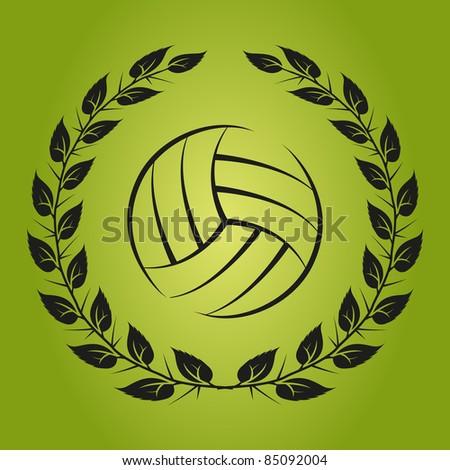 Volleyball emblem - stock vector