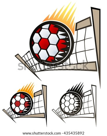Volleyball emblem scorching over the net!  Includes full color, flat and black only versions. - stock vector
