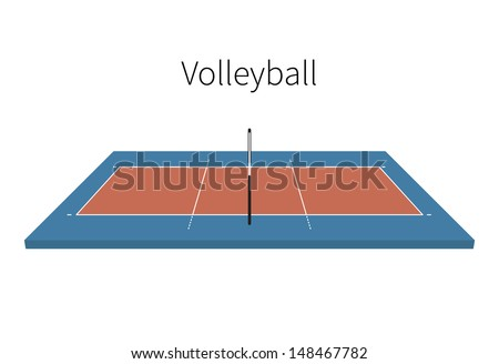 Volleyball Field isolated on white background. Vector illustration. - stock vector