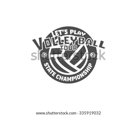 Volleyball label, badge, logo and icon. Sports insignia. Best for volley club, league competition, sport shops, sites or magazines. Use it as print on tshirt. Volleyball tour. Vector illustration - stock vector