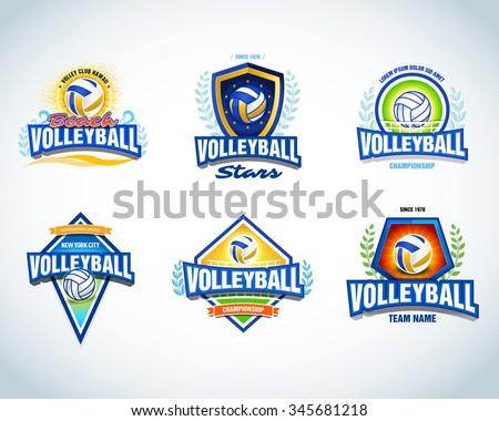 Volleyball Logo Templates Set Volleyball Emblem Stock