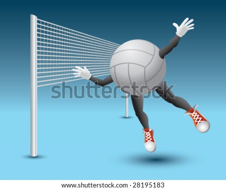 volleyball man flying into net - stock vector