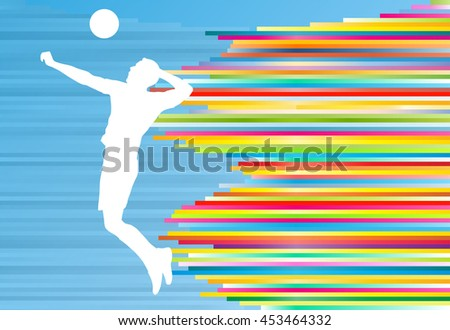 Volleyball player man silhouette abstract vector background illustration - stock vector