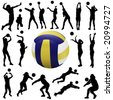 volleyball player set - stock vector