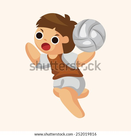 volleyball player theme elements - stock vector