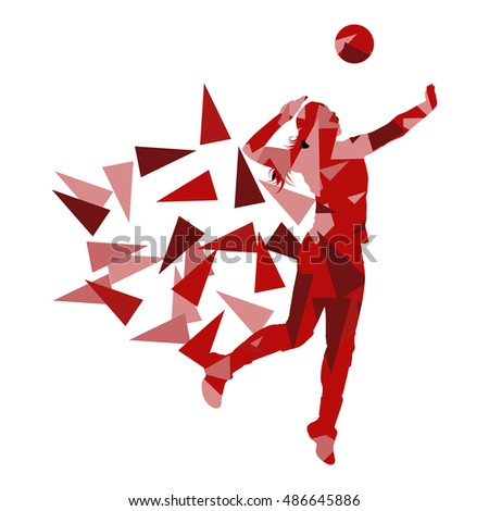 Volleyball player woman silhouette made of polygon fragments vector background concept isolated on white