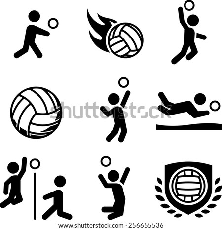 Volleyball players icon set. Vector icons for digital and print projects. - stock vector