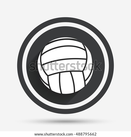 Volleyball sign icon. Beach sport symbol. Circle flat button with shadow and border. Vector
