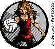 Volleyball Sport Girl and Ball Cartoon Vector Illustration - stock vector