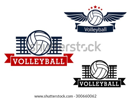 Volleyball sporting icons with volleyball ball and net on the background, winged ball with stars and ribbon banners - stock vector