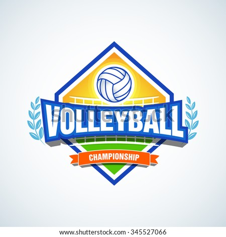 Volleyball team logo template. Volleyball emblem, logotype template, t-shirt apparel design. Volleyball ball. Sport badge for tournament or championship. - stock vector