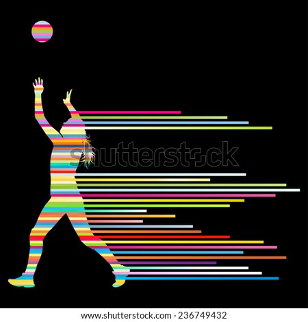 Volleyball woman player vector background concept - stock vector