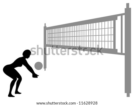 volleyball woman silhouette vector 3 - stock vector