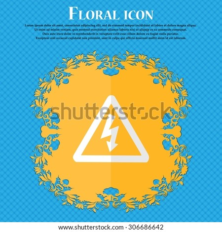 voltage. Floral flat design on a blue abstract background with place for your text. Vector illustration - stock vector