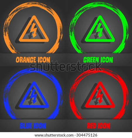voltage icon symbol. Fashionable modern style. In the orange, green, blue, green design. Vector illustration - stock vector