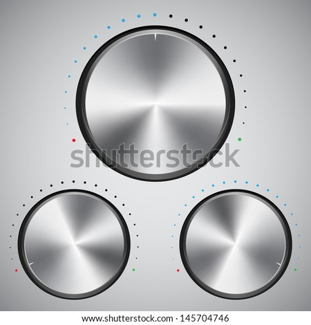 Volume button with metal texture, stock vector - stock vector