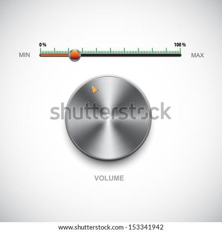 Volume control metal button - stock vector