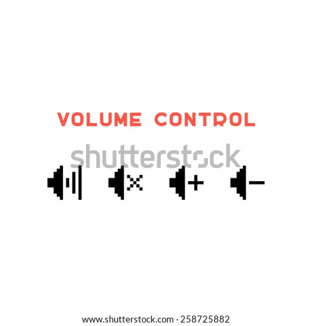 volume control set in pixel art. concept of 8 bit videogame, indicator, sound controlling, user interface. isolated on white background. pixelart style trendy modern logo design vector illustration - stock vector