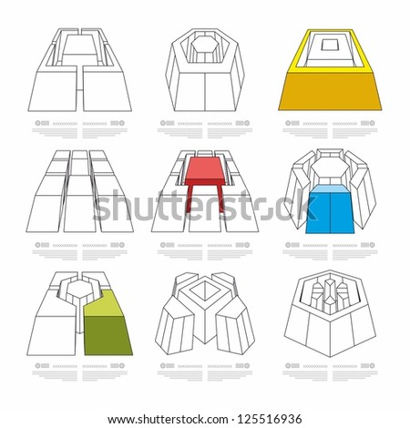 volume elements of infographics - stock vector