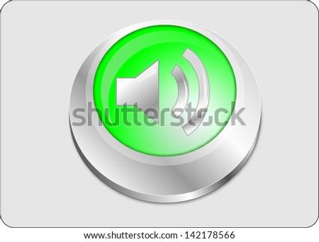 Volume icon green button, vector - stock vector