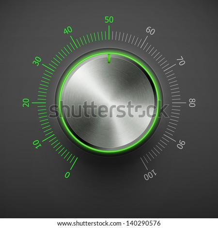 volume knob with metal texture and green scale eps10 - stock vector