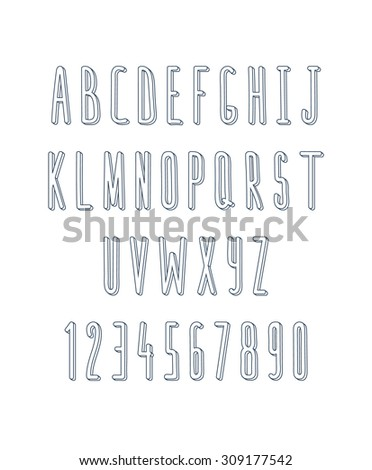 Volume set of letters and numbers, handmade. Outline font. Sketch font. Doodle font. Animation font design. Volume font. Letters handmade, hand drawn alphabet. Font monochrome - stock vector