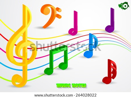 volumetric colored music notes stock vector 264028022 shutterstock