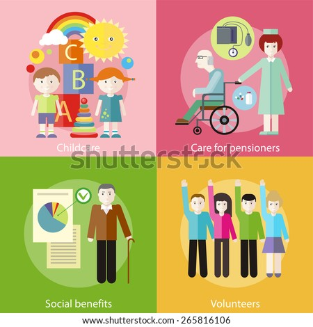 Volunteer group raising hands against. Grandpa with documents of social benefits. Nurse taking care of senior patient in wheelchair. Kids playing construction in the room - stock vector