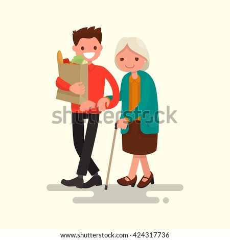 Volunteer helping grandmother carry products. Vector illustration of a flat design - stock vector
