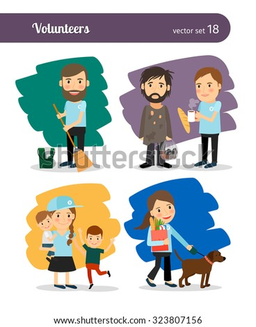 Volunteers help the homeless, old people and look after children - stock vector