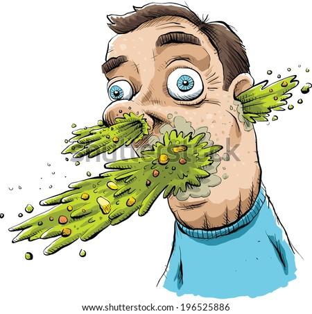 Vomit explodes from a man's face. - stock vector