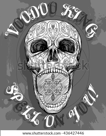 voodoo skull with opened jaw, vector illustration - stock vector