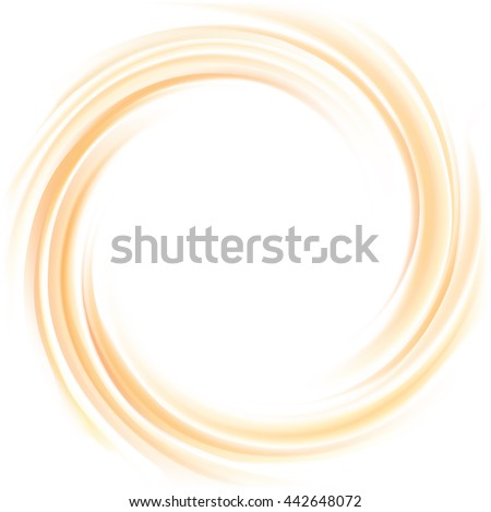 Vortex ripple backdrop with space for text on white backdrop. Curvy fluid surface gentle beige color. Circle soft mix of pure fresh sweet melon, pumpkin, apricot dessert syrup - stock vector