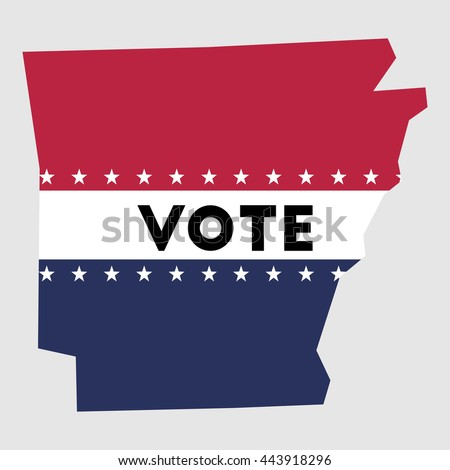 Vote Arkansas state map outline. Patriotic design element to encourage voting in presidential election 2016. vote Arkansas vector illustration.