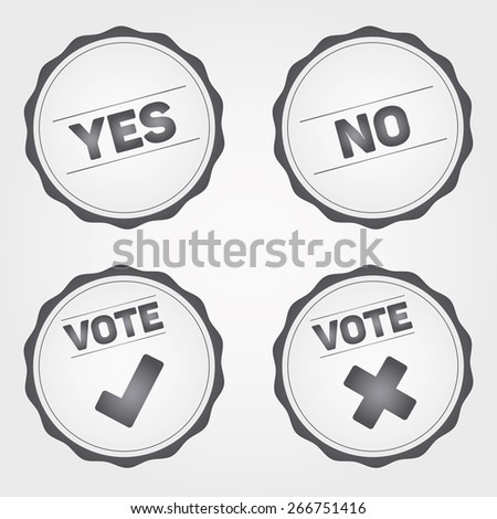 Vote Badges and check mark signs, gray signs on the white background - stock vector
