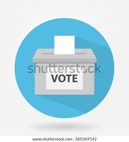Vote box or ballot box icon with long shadow. flat design - stock vector