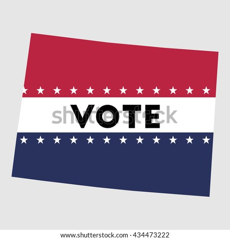 Vote Colorado state map outline. Patriotic design element to encourage voting in presidential election 2016. vote Colorado vector illustration. - stock vector