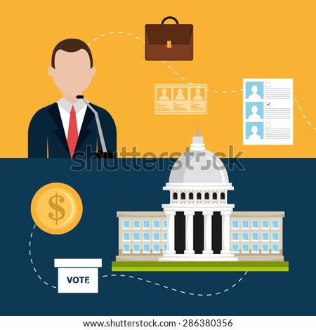 Vote design over colorful background, vector illustration. - stock vector