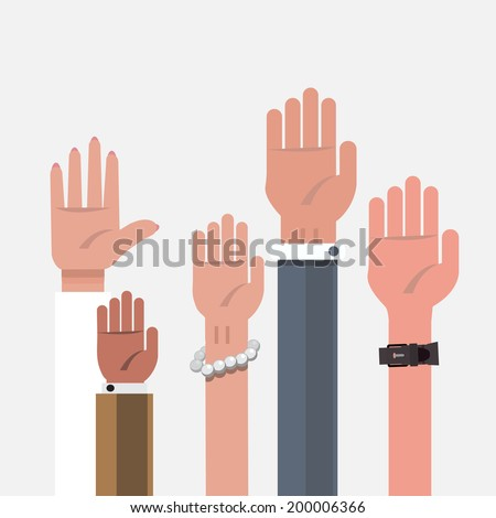 vote hand. up hand - vector illustration - stock vector