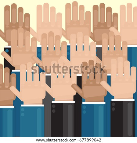 Vote. Hands raised up. Elections or greetings. Vector image