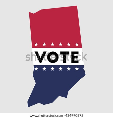 Vote Indiana State Map Outline Patriotic Design Element To Encourage Voting In Presidential Election 2016