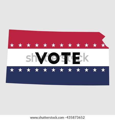 Vote Kansas state map outline. Patriotic design element to encourage voting in presidential election 2016. vote Kansas vector illustration.
