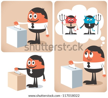 Vote: Man voting at ballot box. - stock vector