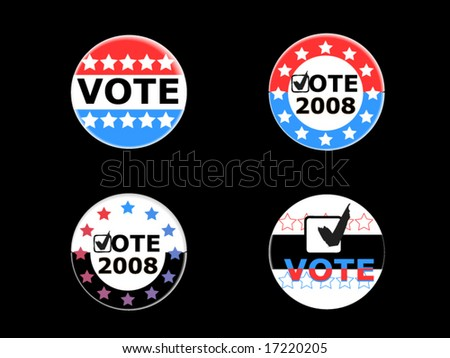 Vote pins / buttons for 2008 US campaigns - stock vector